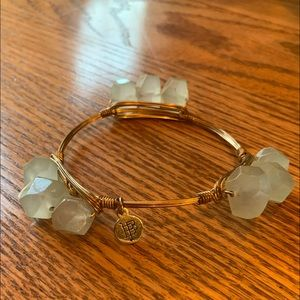 Bourbon and Bowties Pale Green Quartz Wired Bangle